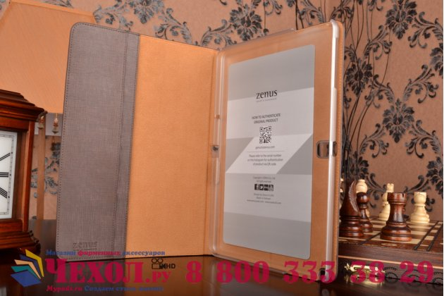 Фирменный умный Smart-чехол с функцией засыпания с расписным узором ручной работы для Samsung Galaxy Tab Pro 10.1 SM T520/T525 с визитницей из качественной импортной кожи коричневый производство Вьетнам