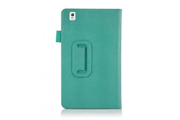 """Фирменный чехол бизнес класса для Samsung Galaxy Tab Pro 8.4 SM-T320/T325 с визитницей и держателем для руки бирюзовый натуральная кожа """"Prestige"""" Италия"""