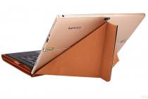 """Фирменный оригинальный чехол-клатч-сумка с подставкой """"Оригами"""" для Samsung Galaxy Tab Pro S 12.2 SM-W700 / W703 / W707 из качественной импортной кожи черный с коричневой вставкой"""