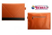 """Фирменный оригинальный чехол-клатч-сумка с подставкой """"Оригами"""" для Samsung Galaxy Tab Pro S 12.2 SM-W700 / W703 / W707 из качественной импортной кожи коричневый с черной вставкой"""