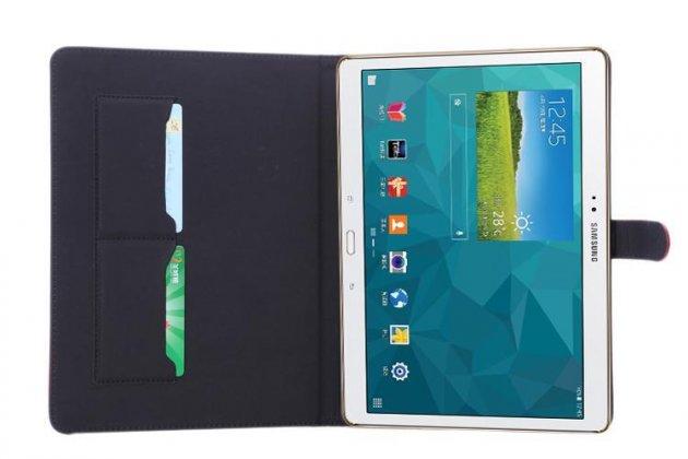Фирменный премиальный чехол бизнес класса для Samsung Galaxy Tab S 10.5 SM-t800/t801/t805 с визитницей из качественной импортной кожи Ретро серый