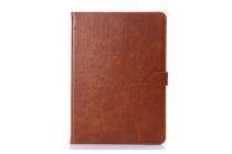 Фирменный умный ультра тонкий чехол бизнес класса для планшета Samsung Galaxy Tab S 10.5 SM-t800/t801/t805 из качественной импортной кожи коричневый