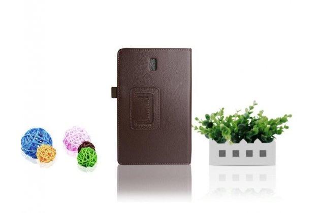 Фирменный чехол обложка для Samsung Galaxy Tab S 8.4 SM-T700/T705 коричневый кожаный