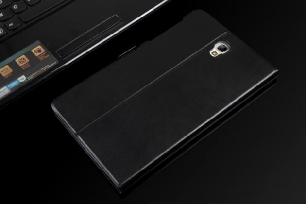 """Фирменный чехол подставка для Samsung Galaxy Tab S 8.4 черный натуральная кожа """"Deluxe"""""""