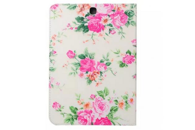"Чехол-футляр для Samsung Galaxy Tab S2 8.0 SM-T710/T715 ""тематика красивый цветок"" кожаный белый"