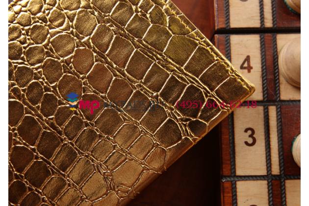 Эксклюзивный чехол обложка футляр для Samsung Galaxy Tab S2 8.0 SM-T710/T715 кожа крокодила золотой. Только в нашем магазине. Количество ограничено