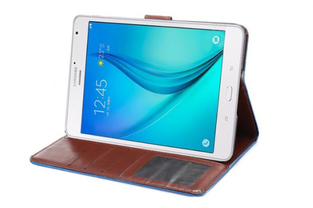 Фирменный чехол-обложка с визитницей и застежкой для Samsung Galaxy Tab S2 8.0 SM-T710/T715 синий из настоящей джинсы
