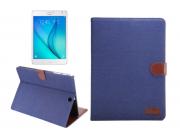 Фирменный чехол-обложка с визитницей и застежкой для Samsung Galaxy Tab S2 8.0 SM-T710/T715 синий из настоящей..