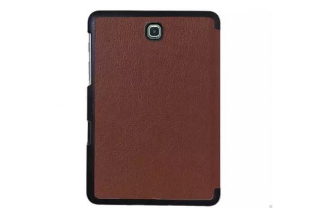 """Фирменный умный чехол самый тонкий в мире для планшета Samsung Galaxy Tab S2 8.0 SM-T710/T715 """"Il Sottile"""" коричневый кожаный"""