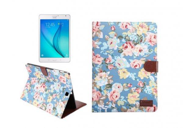 Фирменный кожаный чехол-обложка с визитницей и застежкой для Samsung Galaxy Tab S2 9.7 SM-T810/T815 голубой с цветами