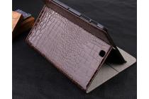 Фирменный чехол для Samsung Galaxy Tab S2 9.7 SM-T810/T815 лаковая кожа крокодила коричневый