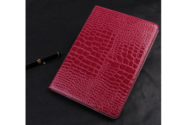 Фирменный чехол для Samsung Galaxy Tab S2 9.7 SM-T810/T815 лаковая кожа крокодила малиновый