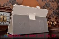 """Фирменный чехол бизнес класса для Samsung Galaxy Tab S2 9.7 SM-T810/T815 с визитницей и держателем для руки белый натуральная кожа """"Prestige"""" Италия"""