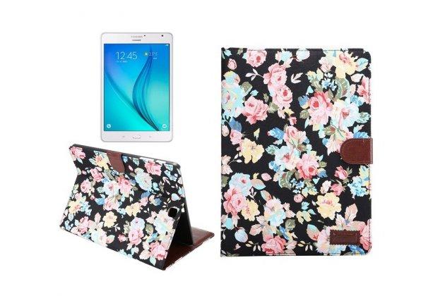 Фирменный кожаный чехол-обложка с визитницей и застежкой для Samsung Galaxy Tab S2 9.7 SM-T810/T815 черный с цветами