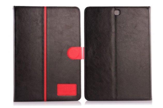 Фирменный чехол с силиконовой накладкой и мульти-подставкой для Samsung Galaxy Tab S2 9.7 SM-T810/T815 черный кожаный с красной полосой