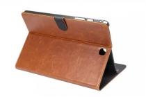"""Фирменный премиальный чехол бизнес класса для Samsung Galaxy Tab A 9.7 SM-T550/T555 с визитницей из качественной импортной кожи """"Ретро"""" коричневый"""