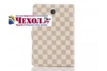 Фирменный чехол-обложка для Samsung Galaxy Tab A 9.7 SM-T550/T555 в клетку белый кожаный