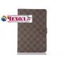 Фирменный чехол-обложка для Samsung Galaxy Tab A 9.7 SM-T550/T555 в клетку коричневый кожаный..