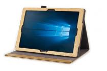 Фирменный премиальный чехол бизнес класса для Samsung Galaxy Tab Pro S 12.2 SM-W700 из качественной импортной кожи золотой