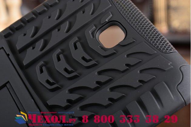 Противоударный усиленный ударопрочный фирменный чехол-бампер-пенал для Samsung Galaxy Tab 4 7.0 SM-T230/T231/T235 черный с подставкой