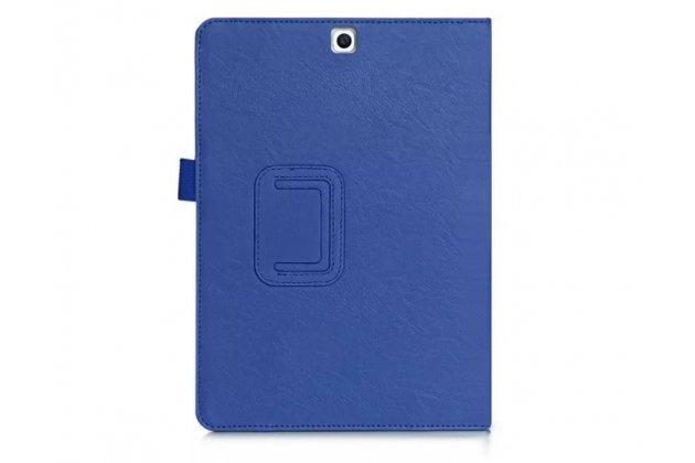 """Фирменный чехол бизнес класса для Samsung Galaxy Tab S2 9.7 SM-T810/T815 с визитницей и держателем для руки синий натуральная кожа """"Prestige"""" Италия"""