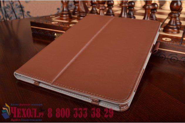 """Фирменный чехол бизнес класса для Samsung Galaxy Tab S2 9.7 SM-T810/T815 с визитницей и держателем для руки коричневый натуральная кожа """"Prestige"""" Италия"""
