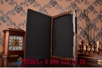 """Фирменный чехол для Sony Xperia Z4 Tablet SGP712/SGP771 10.1"""" лаковая кожа крокодила коричневый"""