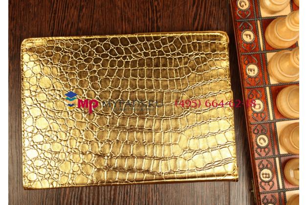 Эксклюзивный чехол обложка футляр для Samsung Galaxy Tab S2 9.7 SM-T810/T815 кожа крокодила золотой. Только в нашем магазине. Количество ограничено