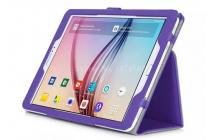 """Фирменный чехол бизнес класса для Samsung Galaxy Tab S2 9.7 SM-T810/T815 с визитницей и держателем для руки фиолетовый натуральная кожа """"Prestige"""" Италия"""