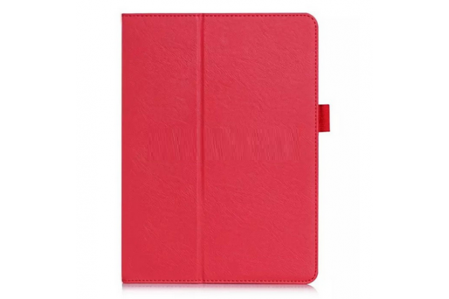 """Фирменный чехол бизнес класса для Samsung Galaxy Tab S2 9.7 SM-T810/T815 с визитницей и держателем для руки красный натуральная кожа """"Prestige"""" Италия"""