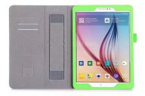 """Фирменный чехол бизнес класса для Samsung Galaxy Tab S2 9.7 SM-T810/T815 с визитницей и держателем для руки зеленый натуральная кожа """"Prestige"""" Италия"""