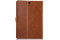 """Фирменный премиальный чехол бизнес класса для Samsung Galaxy Tab S2 9.7 SM-T810/T815 с визитницей из качественной импортной кожи """"Ретро"""" коричневый"""