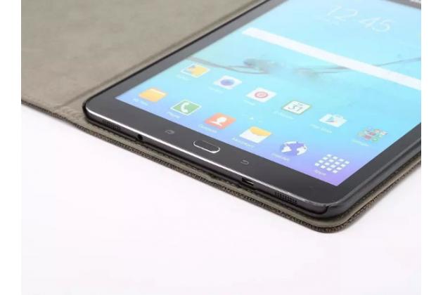 Фирменный чехол-книжка из кожи с мульти-подставкой и застёжкой для Samsung Galaxy Tab S2 9.7 SM-T810/T815 белый в клетку