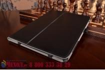 """Фирменный чехол обложка для Samsung Galaxy Tab S2 9.7 SM-T810/T815 с визитницей и держателем для руки черный натуральная кожа """"Prestige"""" Италия"""