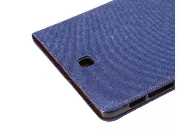 Фирменный чехол-обложка с визитницей и застежкой для Samsung Galaxy Tab S2 9.7 SM-T810/T815 синий из настоящей джинсы