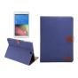 Фирменный чехол-обложка с визитницей и застежкой для Samsung Galaxy Tab S2 9.7 SM-T810/T815 синий из настоящей..