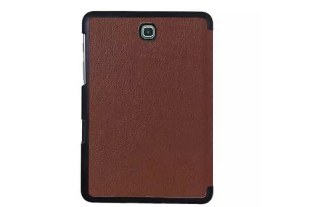 """Фирменный умный чехол самый тонкий в мире для планшета Samsung Galaxy Tab S2 9.7 SM-T810/T815 """"Il Sottile"""" коричневый кожаный"""