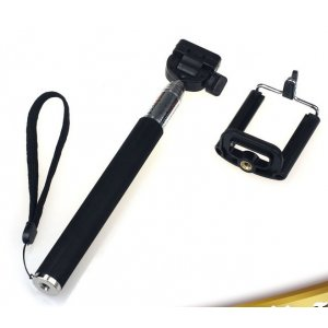 Бесповодная Bluetooth селфи-палка/монопод для сэлфи с удобной прорезиненной ручкой черного цвета подходит для всех телефонов + гарантия