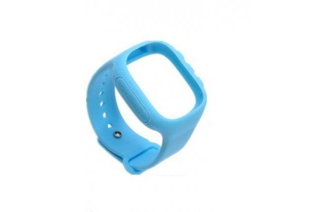 Фирменный необычный сменный силиконовый ремешок  для умных смарт-часов Smart Baby Watch Q60 голубой