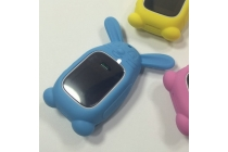 Фирменный необычный сменный силиконовый футляр-чехол для умных смарт-часов Smart Baby Watch Q60 голубой Кролик