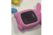 Фирменный необычный сменный силиконовый футляр-чехол для умных смарт-часов Smart Baby Watch Q60 розовый Кролик