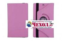 Чехол для планшета Sony Xperia Z3 Tablet Compact поворотный роторный оборотный розовый кожаный
