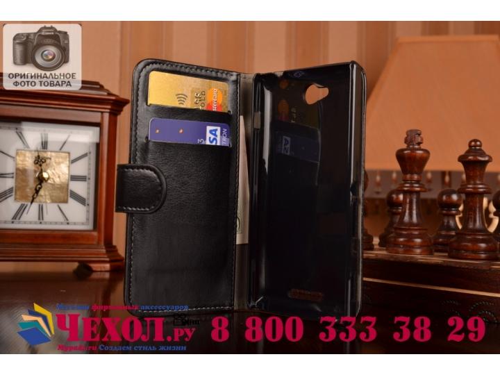 Фирменный чехол-книжка из качественной импортной кожи с подставкой застёжкой и визитницей для Sony Xperia C S3..