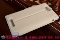 Фирменный чехол-книжка для Sony Xperia C S39h / C2304 / C2305 белый с окошком для входящих вызовов и свайпом водоотталкивающий