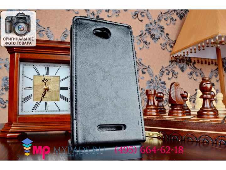 Фирменный вертикальный откидной чехол-флип для Sony Xperia C S39h / C2304 / C2305 черный из качественной импор..