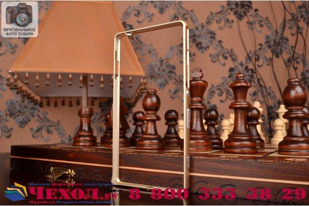 Фирменный оригинальный ультра-тонкий чехол-бампер для Sony Xperia C4/ C4 Dual E5303 / E5333 золотой  металлический