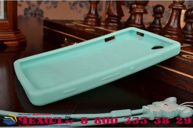 """Фирменная необычная уникальная полимерная мягкая задняя панель-чехол-накладка для Sony Xperia C4/ C4 Dual E5303 / E5333 """"тематика Андроид в Мятном  Шоколаде"""""""