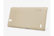 Фирменная задняя панель-крышка-накладка из тончайшего и прочного пластика для Sony Xperia C4/ C4 Dual  золотая