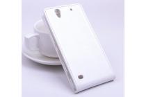 Фирменный оригинальный вертикальный откидной чехол-флип для Sony Xperia C4/ C4 Dual белый из натуральной кожи