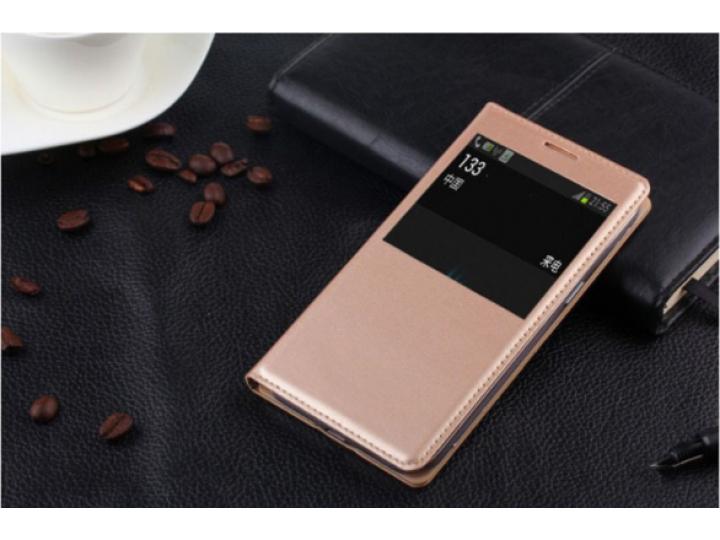 Фирменный оригинальный чехол-книжка для Sony Xperia E4/ E4 Dual E2105/E2115 шампань золотой кожаный с окошком ..